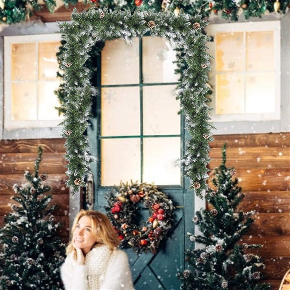 Mona43Henry Decoraci/ón De Cono De Pino Y Puerta De Ventana De Rat/án De Navidad 2020 Ramas De Estilo Abeto Guirnalda Decorativa Para Puerta Ventana Ventana Porche Revestimiento