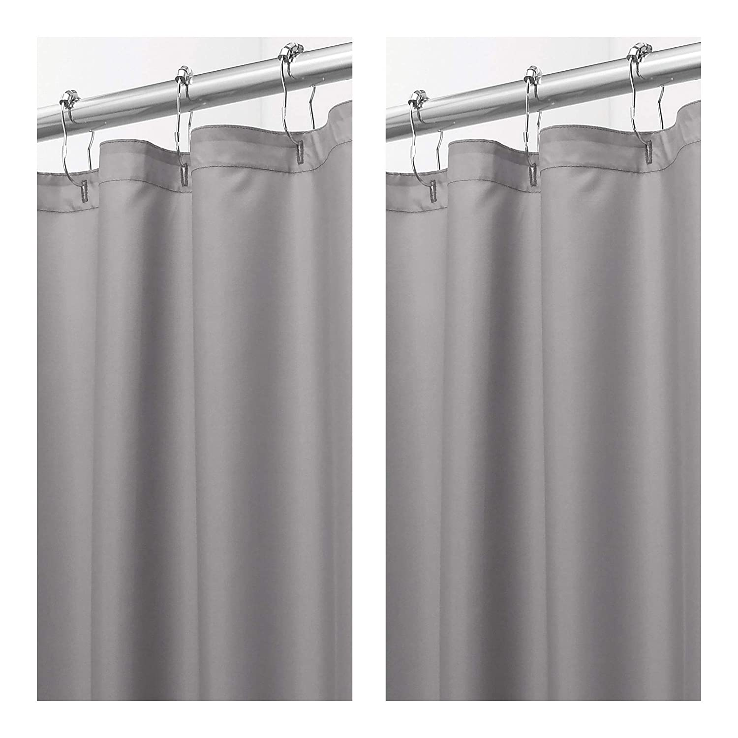 mDesign Extra Long Water Repellent, Mildew Resistant, Heavy Duty Flat Weave Fabric Shower Curtain, Liner - Weighted Bottom Hem Bathroom Shower Bathtub, 72