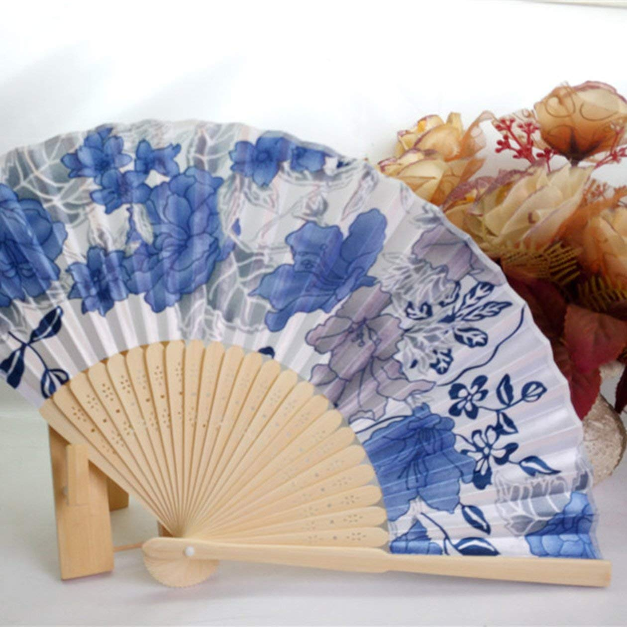 Ventilatore Portatile Ventilatore Pieghevole tenuto in Mano da Donna Nuovo Stile Giapponese n. 8 Ventaglio con ventaglio Color Ciliegia con Cornice in bambù Heraihe