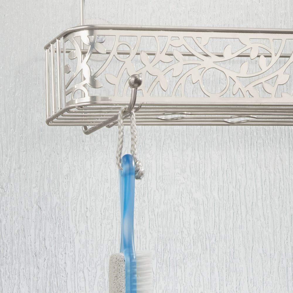 color bronce Estante para ducha sin taladros mDesign Cesta de ducha para la mampara Estanter/ías para colgar de metal con dos cestas y dos ganchos para todo tipo de accesorios