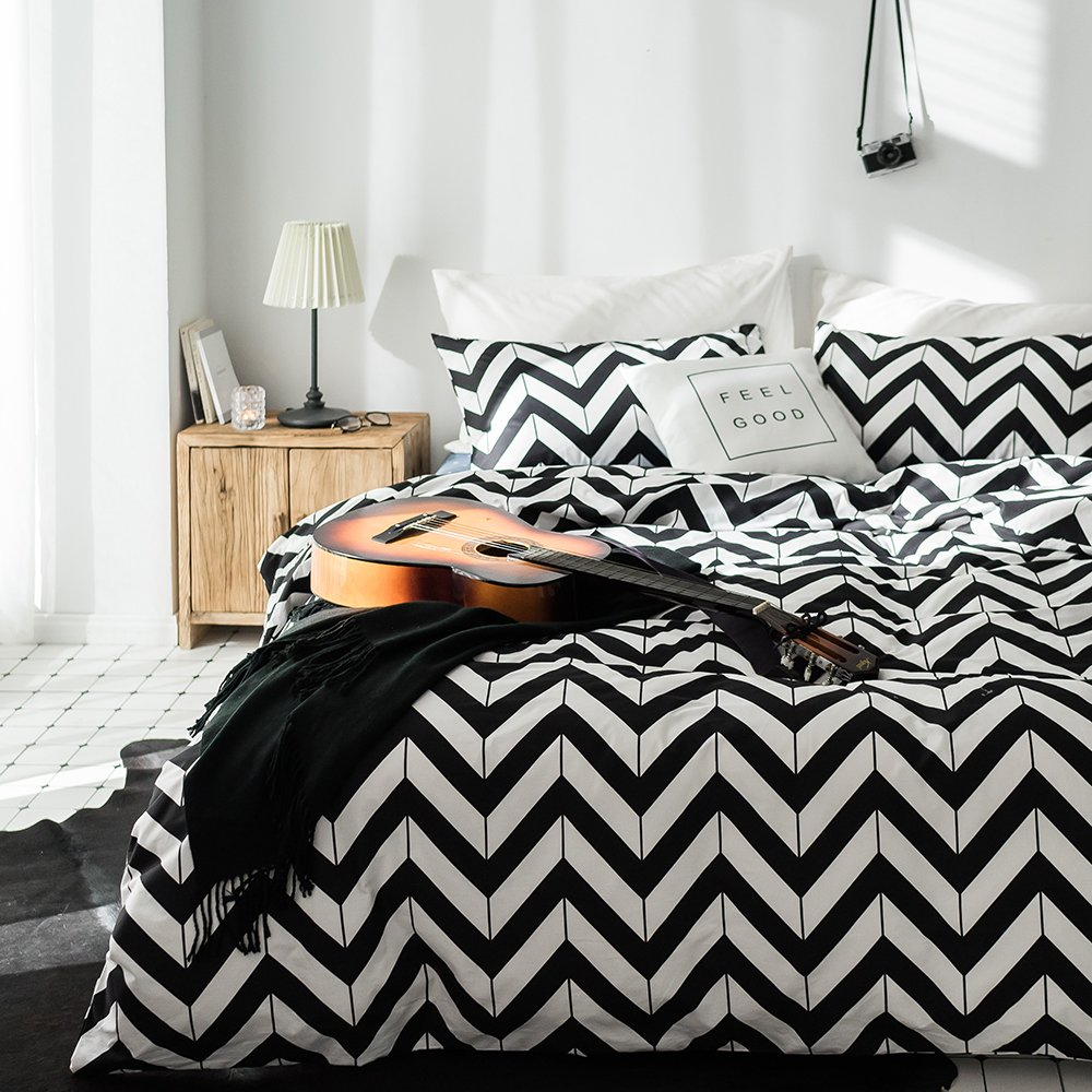 3 Piece Cotton Striped Duvet Cover Set King Modern Soft Reversible Bedding Collection Luxury Hotel Quality Men Boys Duvet Comforter Cover Set with Zipper Closure and Corner Ties King Bed LifeTB USTBS006.1-3K