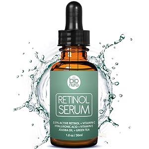Serum au Rétinol Bionura avec 2,5% de Rétinol + 20% de Vitamine C + 10% de Acide Hyaluronique. La meilleure Naturelle Anti-âge & Anti rides Serum au Rétinol Jour et Nuit. Convient aux Femmes et Hommes avec tous types de Peau. 30 ml