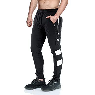 36e2ab4e BROKIG Mens Ease Gym Joggers Tracksuit Bottoms Skinny Sweatpants Tapered Jogging  Bottom with Zipper Pockets (