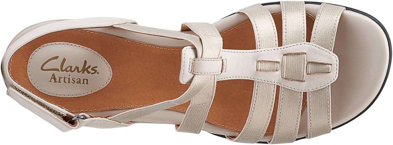 Clarks Women\'s Tiffani Oribel Wedge Sandal Stone Snake Leather
