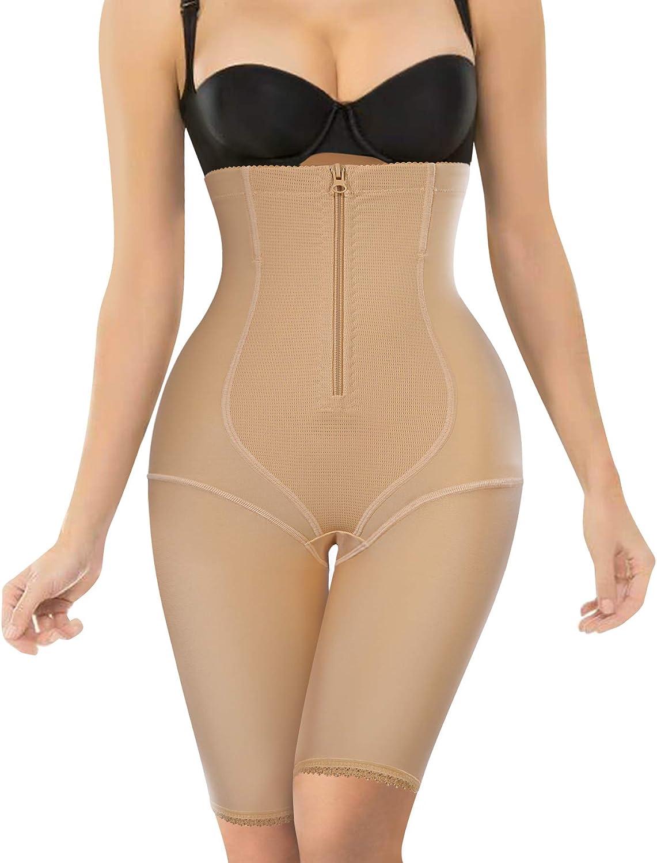 Nebility Women Waist Trainer Shapewear Zipper & Hook Body Shaper Shorts High Waist Butt Lifter Comfort Thigh Slimmer