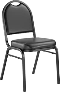 "NPS 9210-BT Vinyl-upholstered Dome Back Stack Chair with Steel Black Sandtex Frame, 300-lb Weight Capacity, 18"" Length x 20"" Width x 34"" Height, Black"