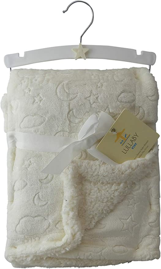 Blue With White Stars Luxury Sherpa Baby Blanket