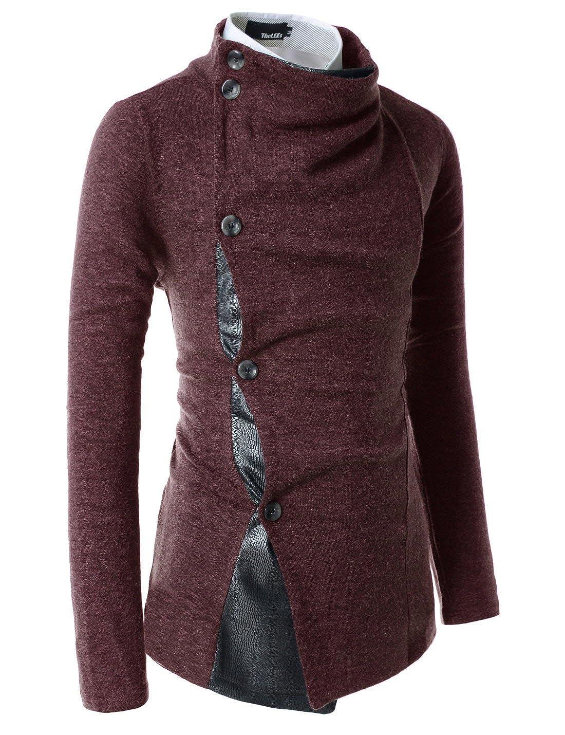 (GD93) Slim Stylish Unbalanced Metallic Leather Point Knitted Cardigan Sweaters