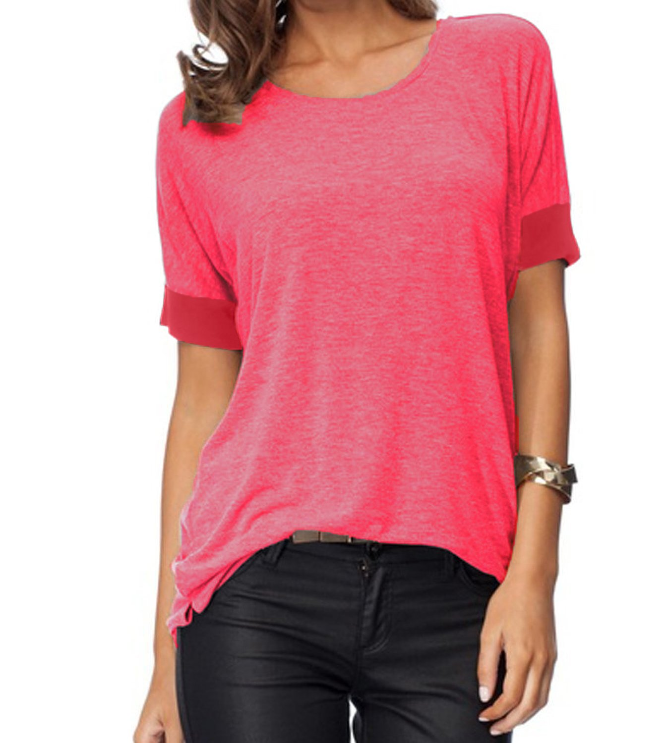 Sarin Mathews Women's Casual Round Neck Loose Fit Short Sleeve T-Shirt Blouse Tops Watermelonred XL