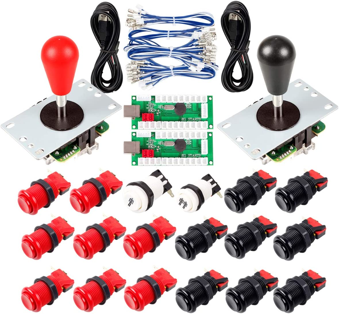 Avisiri 2 Player Arcade Joystick DIY Parts 2X USB Encoder + 2X Elliptical Joystick Hanlde + 18x American Style Arcade Buttons for PC, MAME, Raspberry Pi, Windows (Red & Black)