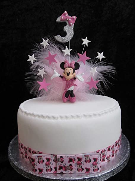 Minnie Mouse Birthday Cake Topper With Glittered Age And Marabou