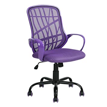 Aingoo Office Task Chair Mesh Swivel Computer Desk Chair Lumbar Support  With Arms, Purple And