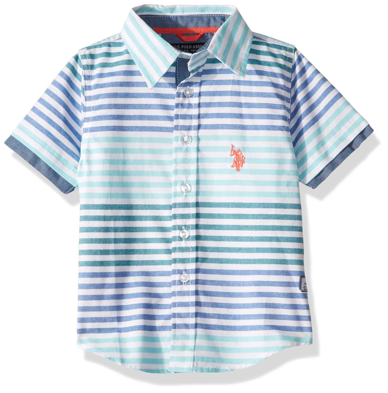 U.S. Polo Assn. Boys' Big Short Sleeve Striped Sport Shirt, Painters Aqua, 10/12