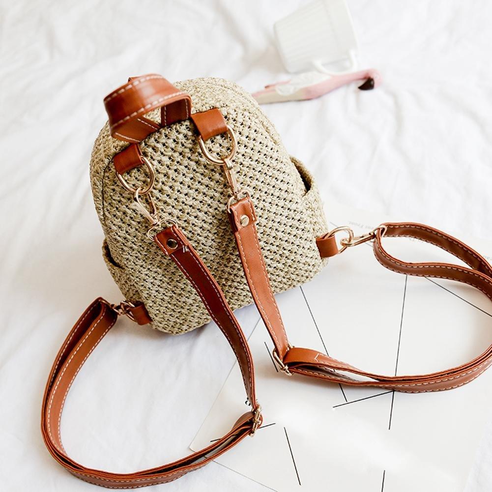 La Cabina Paille Sac /à Dos Loisir Femmes Mini Sac /à Bandouli/ère Weave Creux Plage Cartable Petit Sac de Voyage pour Fille