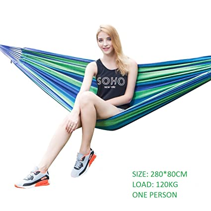 Baskety Portable Outdoor Hammock Hang Bed Travel Camping Swing Canvas with Backpack, 120 kg (Blue, 280 x 80 cm)