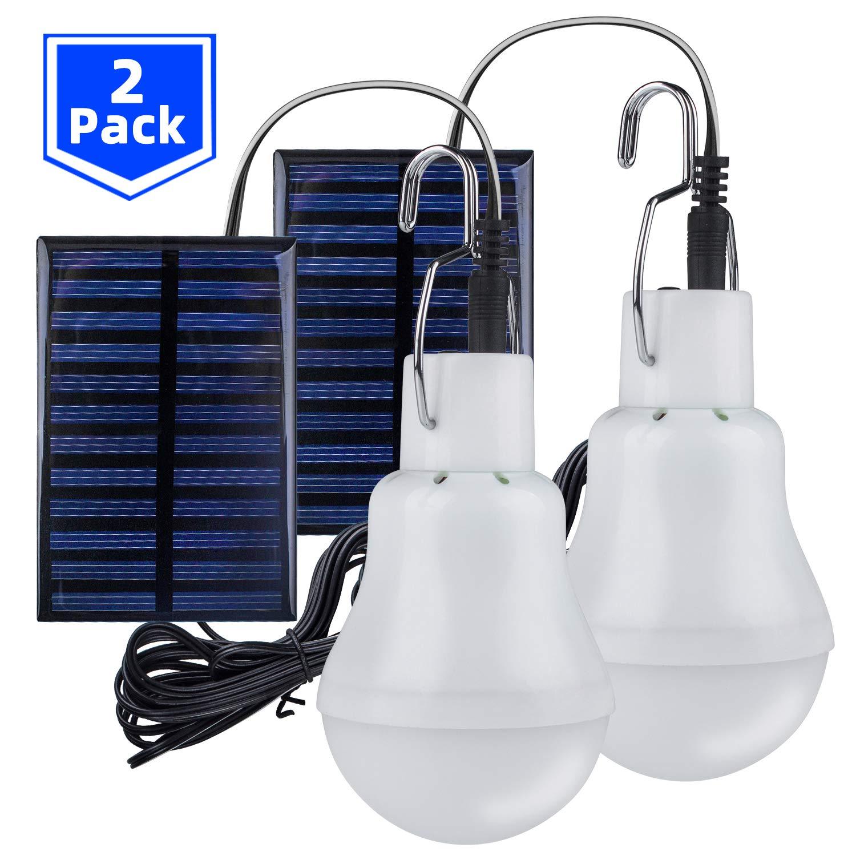 senderismo 3/m Cable de carga solar Panel Iluminaci/ón para camping pesca techken Solar l/ámpara LED Luz Port/átil Pera Solar l/ámpara bombillas 3/W jard/ín hogar 2/unidades Bombilla Solar