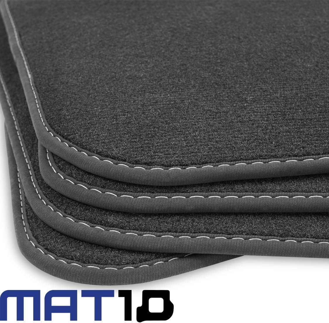 Mat10 Silver Line Vw Caddy Combi 5 Sitzer Schiebetür Links Rechts Ab Baujahr 2015 05 Auto Fußmatten Autoteppich Velours Premium Qualität 4 Teilig Schwarz Garantierte Passform Auto