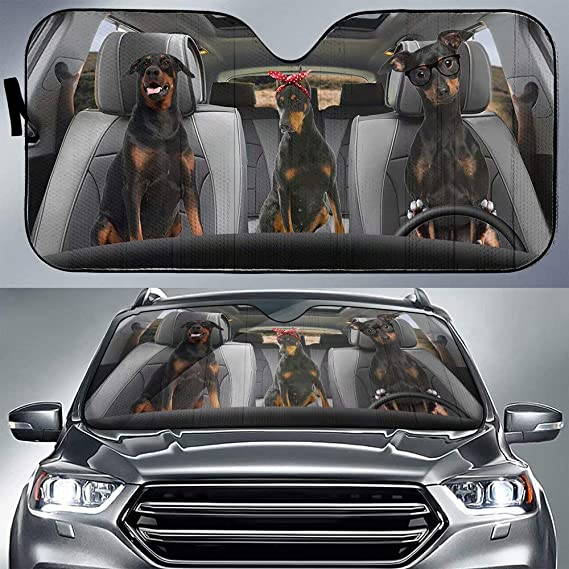 FKELYI Universal Auto Sunshade Poodle Adorable Dog Printed Car Sun Protector Shade with Double Bubble Foil for Most Vehicle Interior Protection,Easy to Install