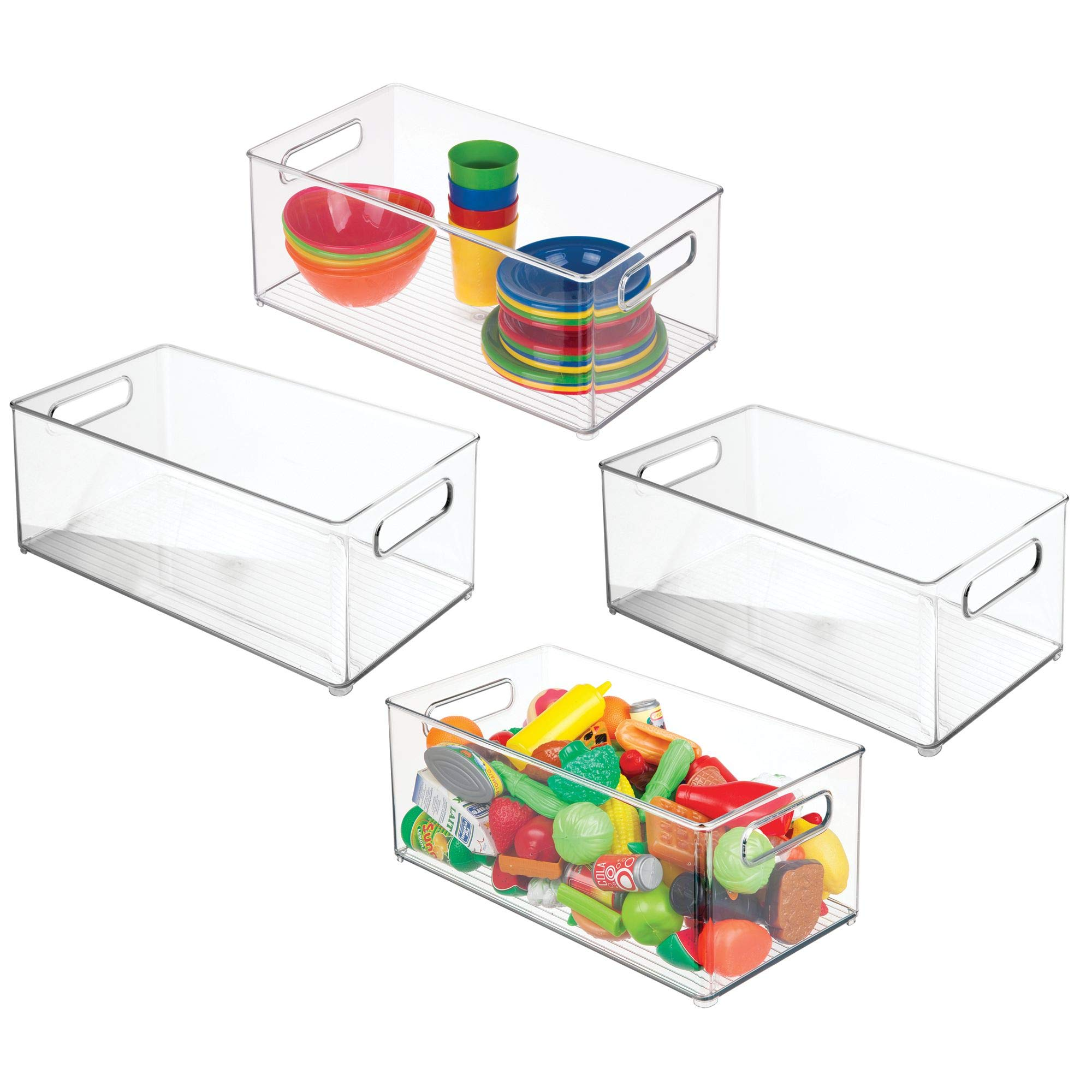 mDesign Plastic Kids Baby Cat Dog Toys Storage Organizers Bins Totes Baskets for Action Figures, Crayons, Legos Puzzles Wood Blocks Stuffed Animals - Set of 4, 8'' x 6'' x 14.5'', Clear