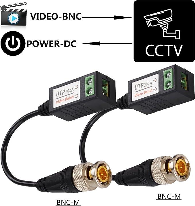 Minitransceptor pasivo de vídeo de alta definición (HD) con cable de categoría 5 (CAT5), con protección pararrayos y conector BNC de cable coaxial bañado en oro, a puerto RJ45 para sistemas de