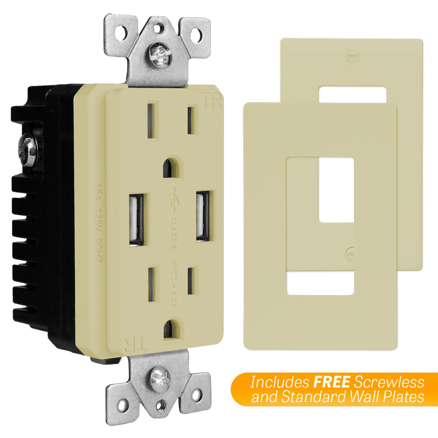 Topgreener Tu2154a High Speed Usb Outlet Wall Charger 15a Tr Ivory Electrical Outlets Light Switches Gfi Receptacle For Iphone Xs Max Xr X 8 7 6s Plus Ipad Lg Htc Compatible Samsung Galaxy