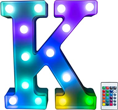 Foaky Colorful LED Letter Lights with Remote, Light Up Letters Sign for Night Light Wedding/Birthday Party Battery Powered Christmas Lamp Home Bar Decoration(K)
