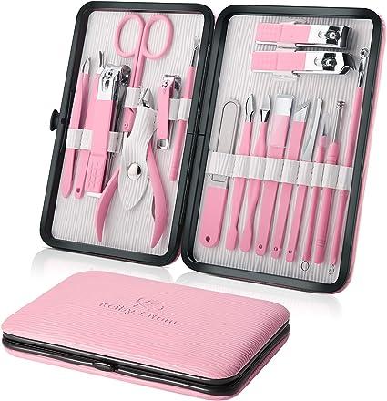 Profesional Cortaúñas Acero Inoxidable Grooming Kit - Set de 18 Piezas para Manicura y Pedicura Limpiador Cutícula con Bonita Caja (Polvo2): Amazon.es: Belleza