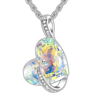 Swarovski Damen Halskette Herz Anhänger Kette Mit Aurore Boreale Swarovski  Kristall, Bestes Geschenk Für Frauen   Valentinstag, Weihnachten oder  Geburtstag ... 70467ec7ec