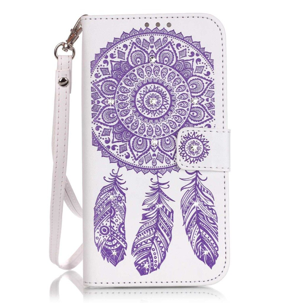 Huawei P9 Lite Case [With Tempered Glass Screen Protector],Qimmortal Anti Scratch Flip Soft Silicone Back Cover Case ,Elegant Vintage Pressed Glitter Sparkle Rhinestone Wind Bell Pattern Design Retro Magnetic Premium PU Leather Credit Card Holder [with L