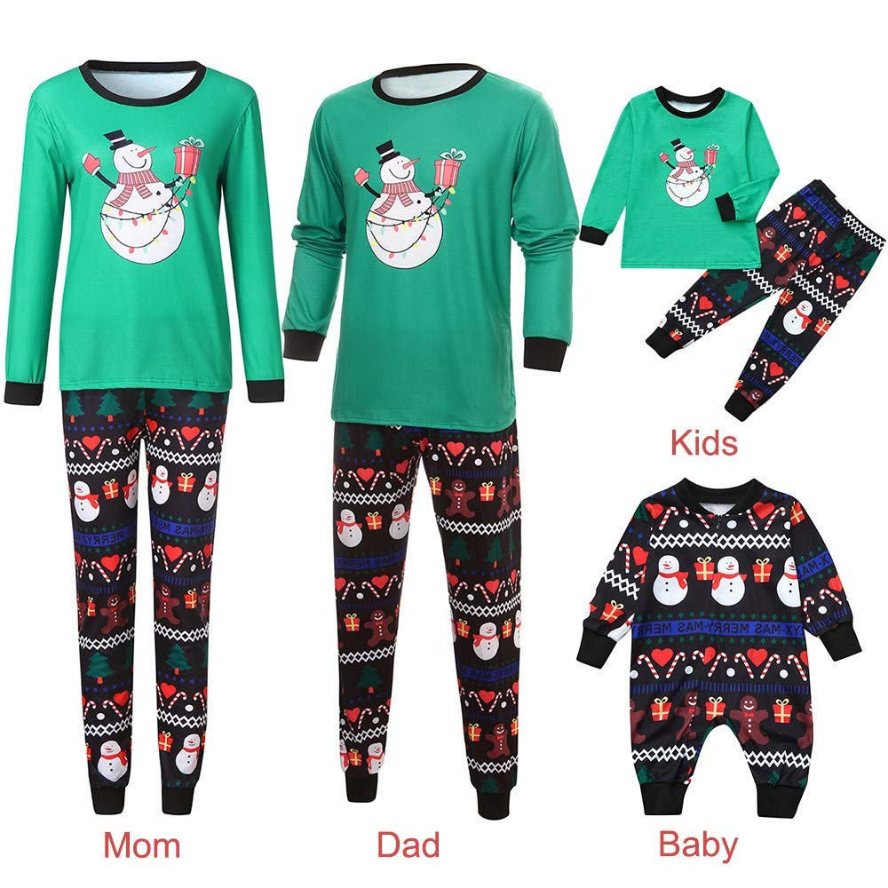 Christmas Family Matching Pyjama,Christmas Toddler Baby Long Sleeve Cartoon Deer Letter Print Romper Jumpsuit Kaiki