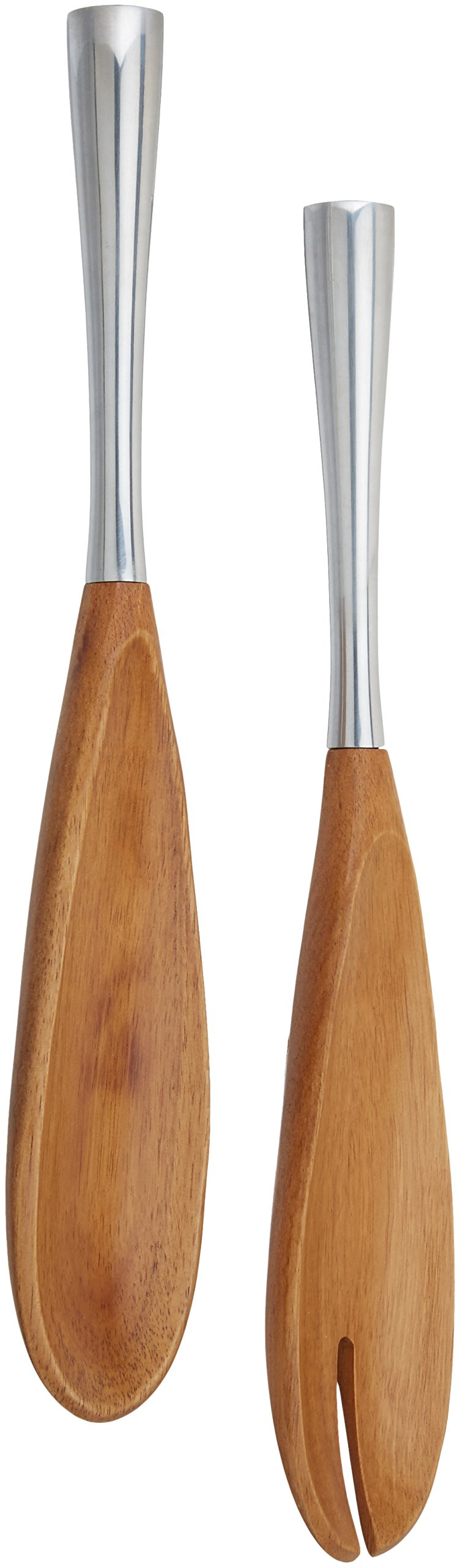 Dansk Dansk Wood Metal/Wood Salad Servers, Set of 2, Silver