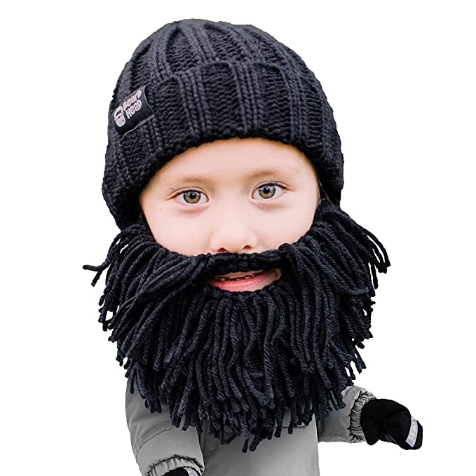 Beard Head Kid Vagabond Beard Beanie - Knit Hat and Fake Beard for Kids  Toddlers Black b0e4d4879c0