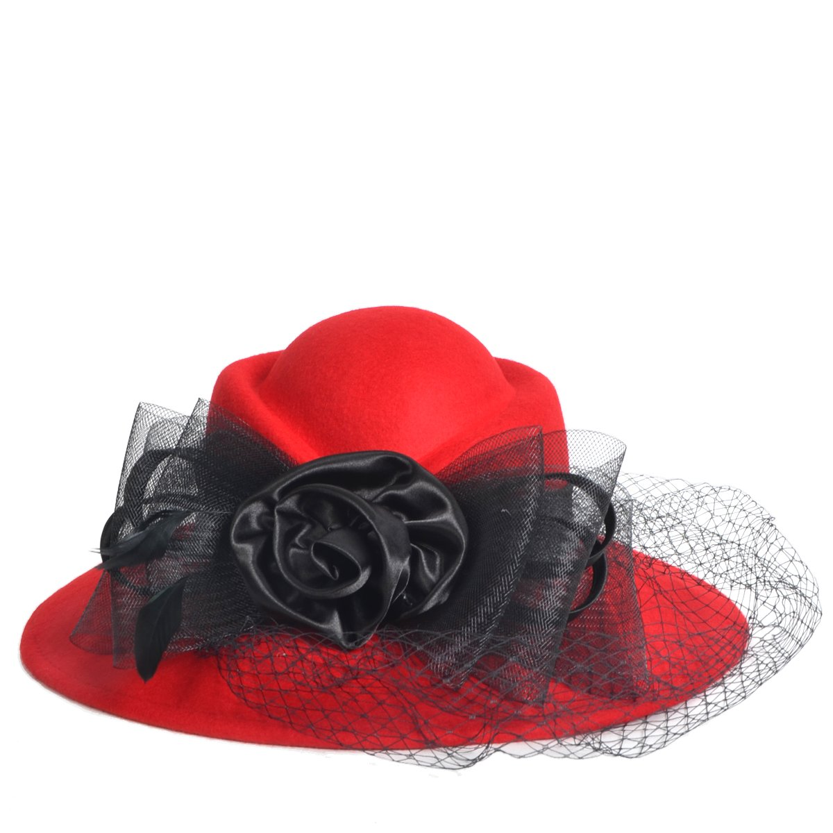 VECRY Women's Fascinator Wool Felt Hat Cocktail Party Wedding Fedora Hats (B-Red) by VECRY (Image #2)