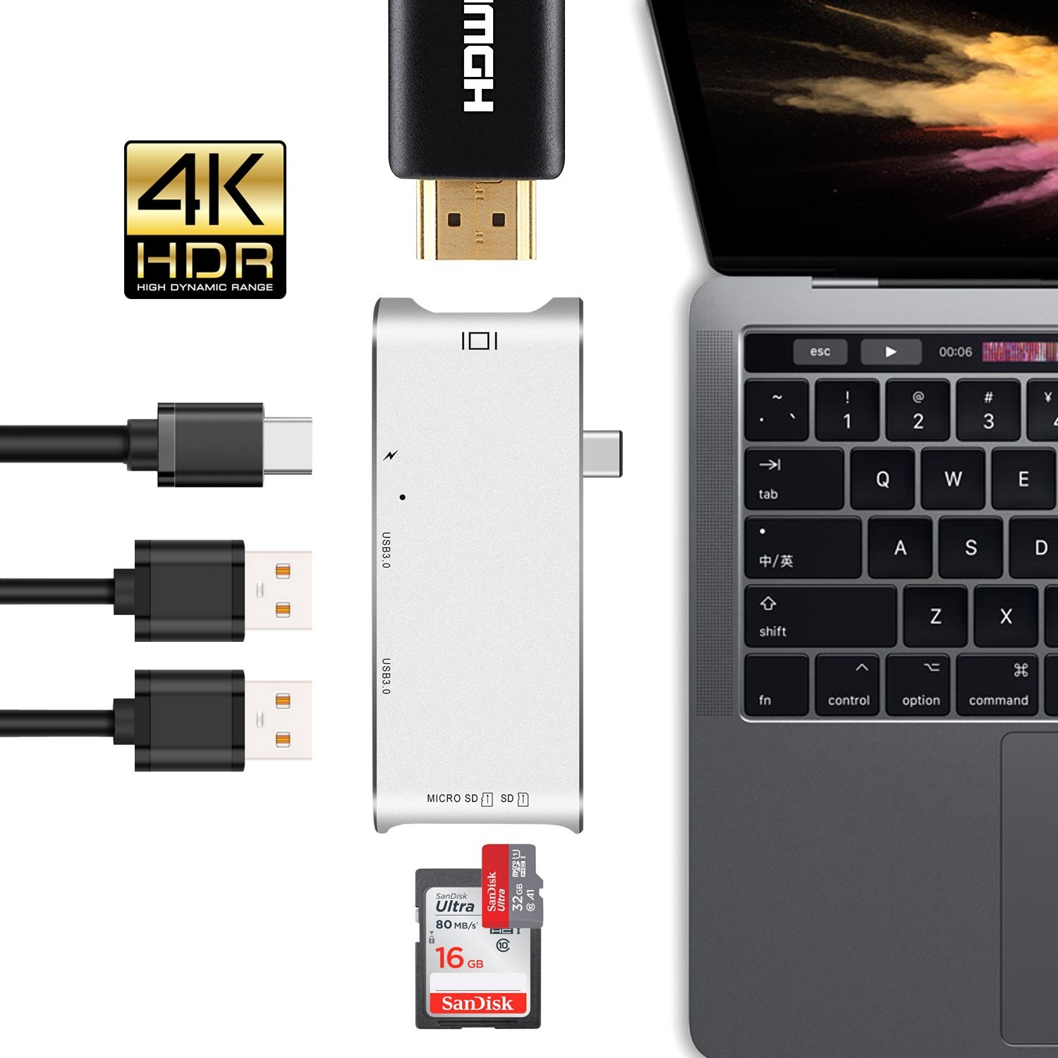 USB Type-C Hub, LUCKYDIY USB-C Adapter with HDMI 4K+2-Port USB 3.0+Power Delivery+Card Reader for MacBook Pro 2016/2017/Google Chromebook/More Type-C Devices by LUCKYDIY (Image #1)