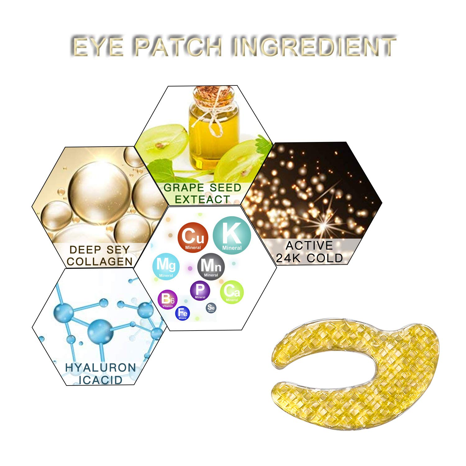 SAILINE 2018 New Deep Sea Fish Collagen Eye Mask For Dark Circles Anti-aging, soften and detoxify Puffiness Eye Treatment Pads Natural Under Eye Patches Ladys & Gentlemen Gifts (10 pairs) (gold)