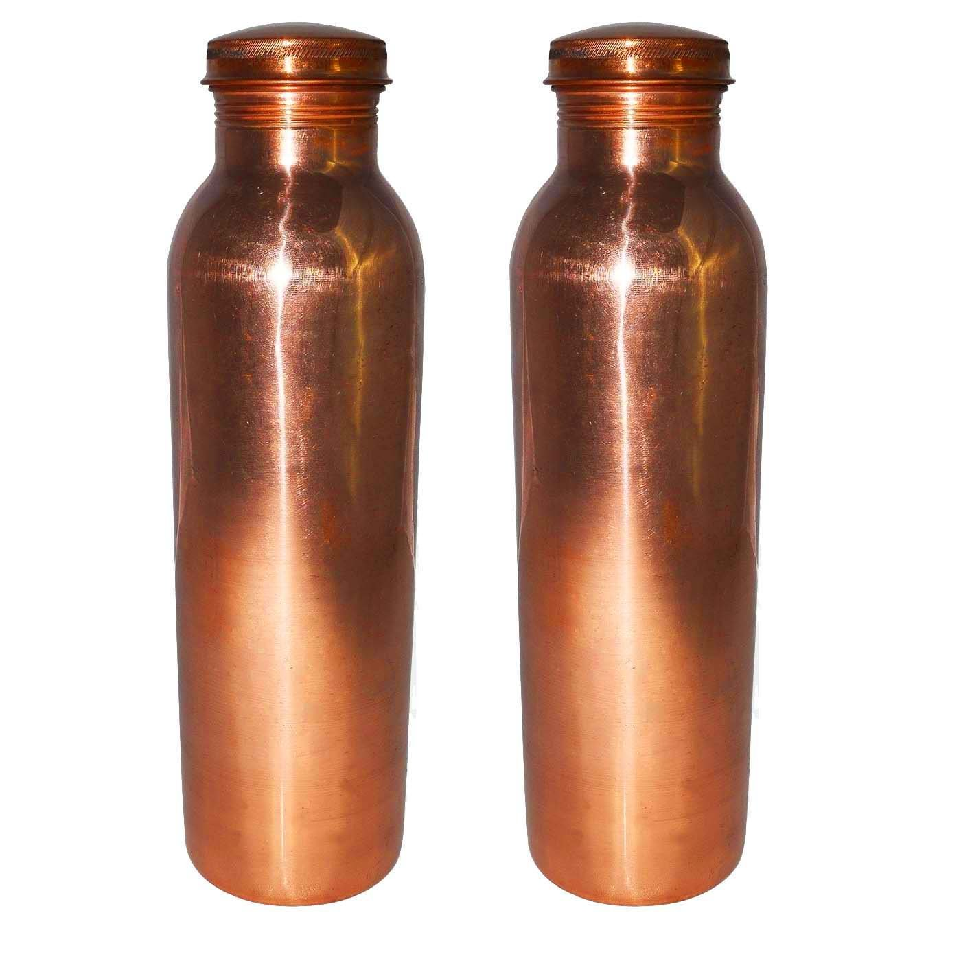 AsiaCraft 1 Litre Capacity Pure Copper Joint Free Leak Proof Bottle for Better Health, Set of 2