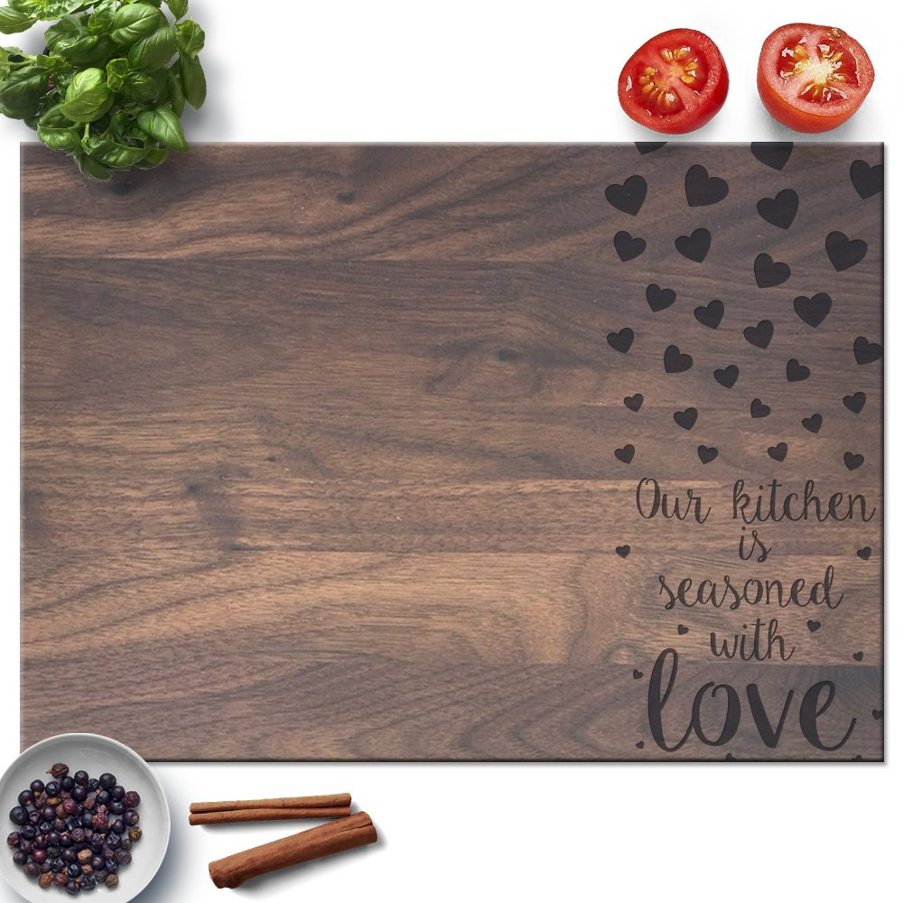 Froolu Kitchen Seasoned with Love wood chopping block for Mothers Day, Mom, Grandmother Christmas Gifts