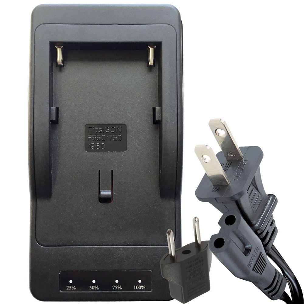 DOT-01 1500 mAh True Rapid Charger for Sony NP-F750 and Sony HXR-MC2500 Camcorder and Sony F750 Rapid Battery Charger with European Adapter