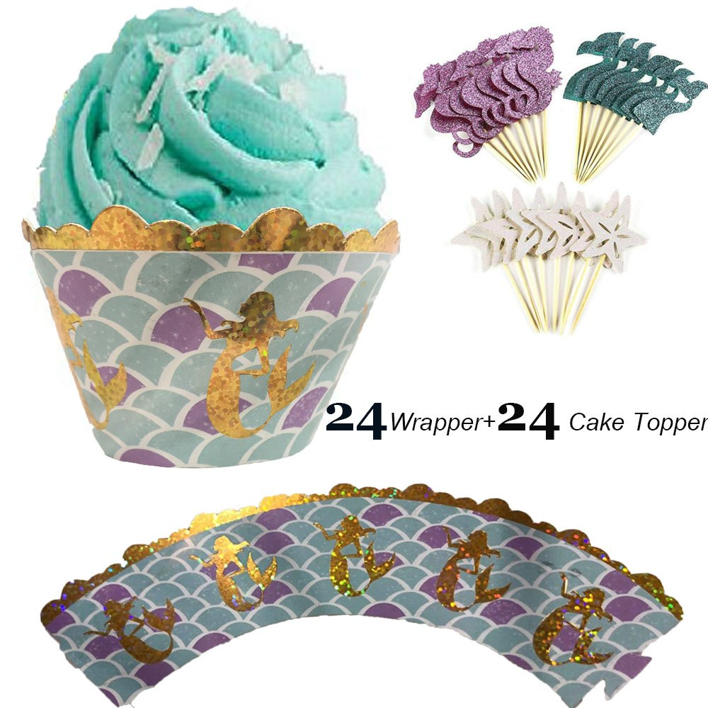 Hinsper Let's Be Mermaids Cupcake Wrapper and Topper Baby Shower or Birthday Party Decorations Party Cupcake Wrappers, Set of 48 by Hinsper