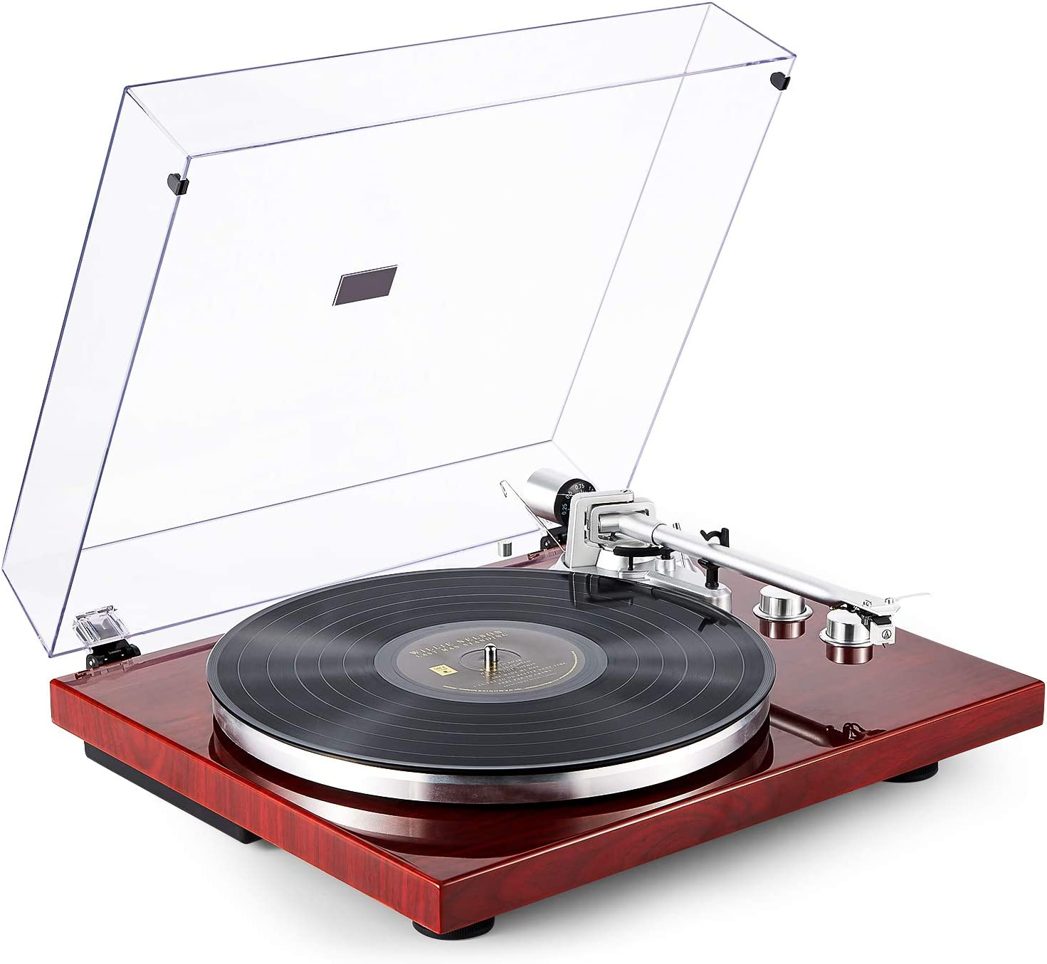 1byone Belt Drive Turntable with Wireless Connectivity, Built-in Phono Preamp and USB Digital Output Vinyl Stereo Record Player with Magnetic Cartridge, Red