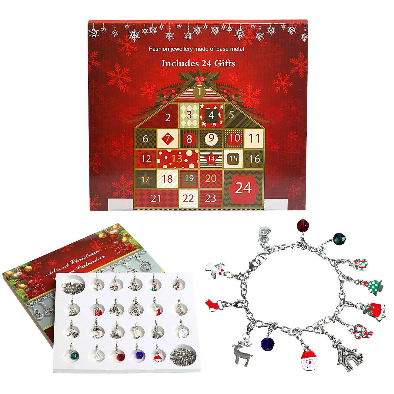 Naler Advent Calendar Charm Bracelet Necklace DIY 22 Charms Set Fashion Jewelry Advent Calendars for Kids Christmas Toy