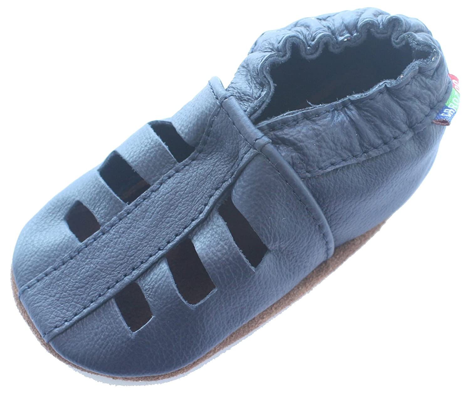 Carozoo Sandals Dark Blue Baby Boy Soft Sole Leather Shoes