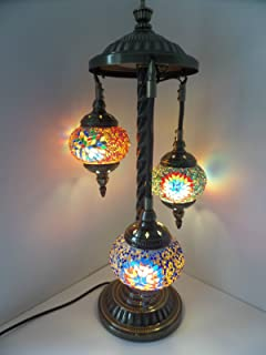 Turkish Floor Lamp, 3 Hand Made Glass Shades and Metal Support Frame ...