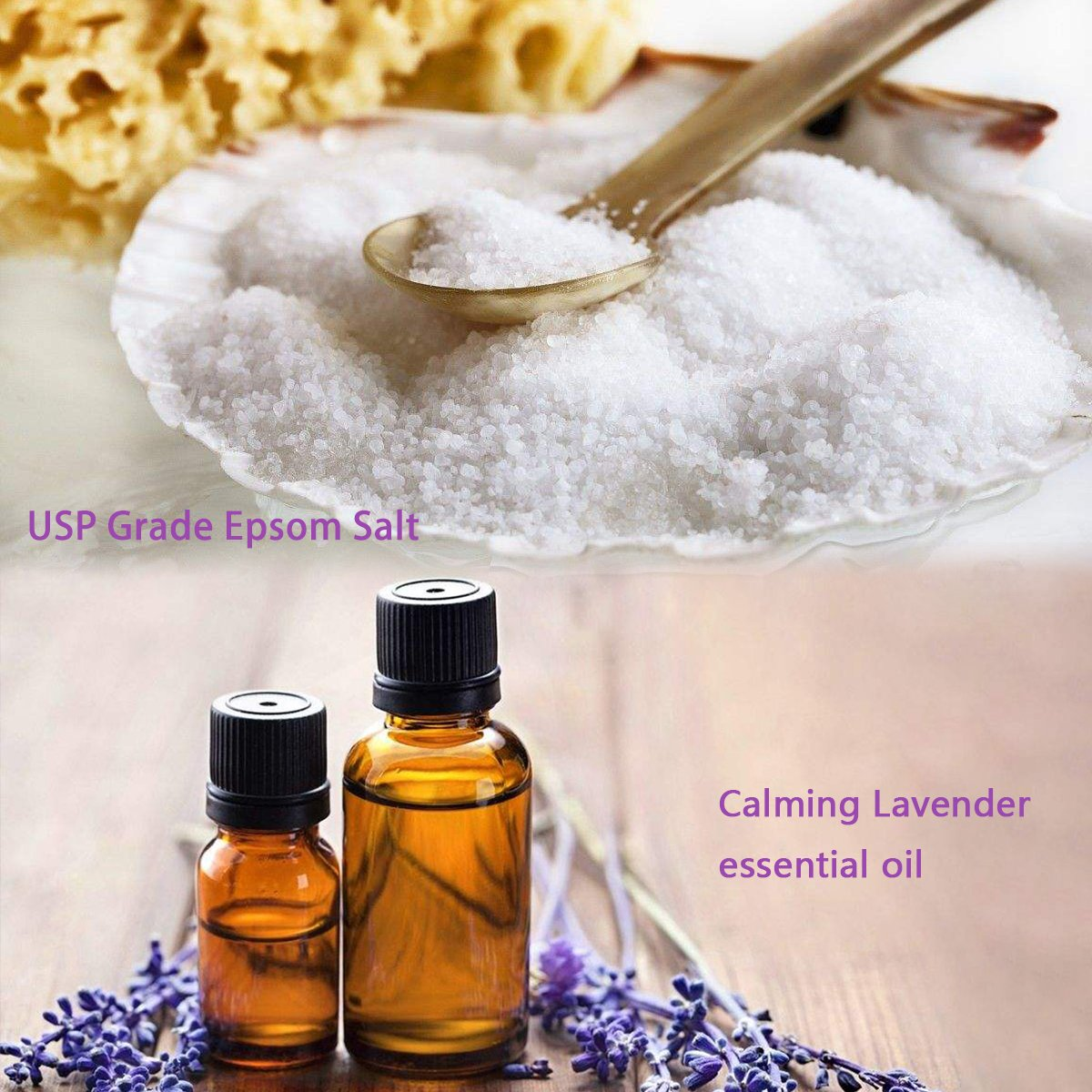 Spa Luxetique Premium Epsom Salt for Foot Soak, 2 lbs Magnesium Sulfate USP Bath Salt Formula, Sleep Well with Calming Lavender Essential Oil by spa luxetique (Image #3)
