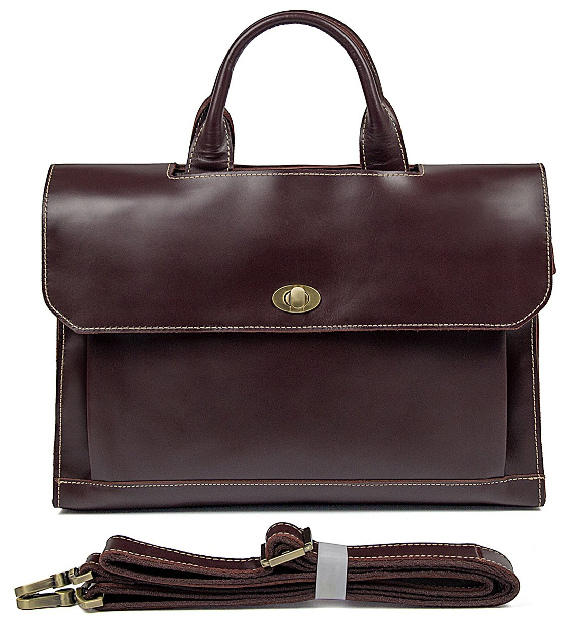 Polare Classic Italian Leather Briefcase Laptop Business Bag Tote