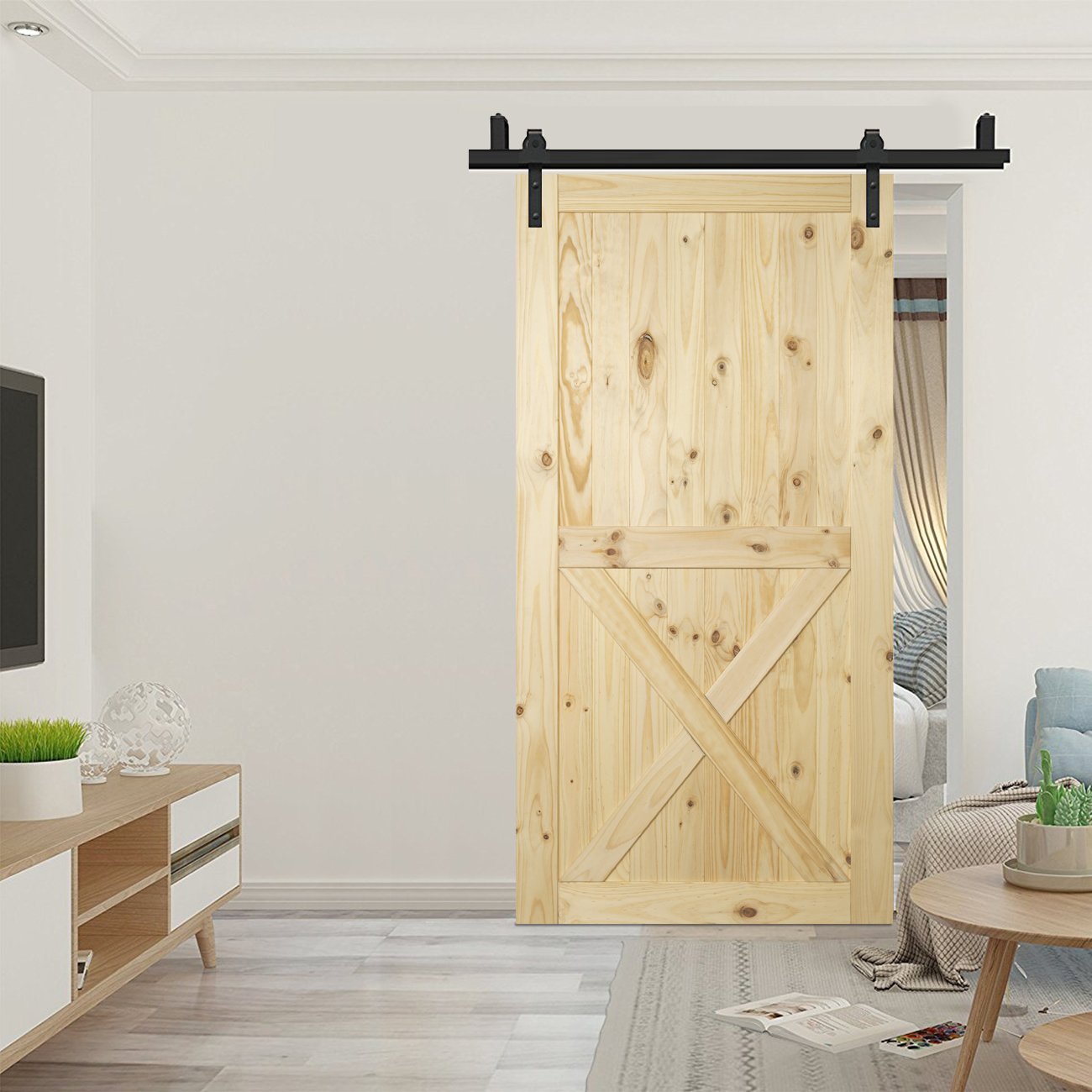 BELLEZE Lower X Sliding Barn Door (7ft x 3.5ft) Natural Wood Pine DIY Kit Unfinished Single Door Pre Drill 42'' x 84'' inches