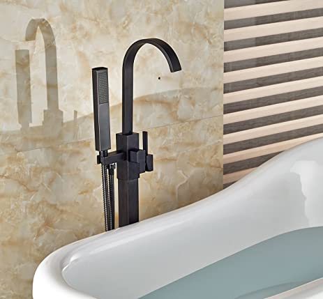 floor mount tub faucet oil rubbed bronze. Senlesen Floor Mount Bathtub Faucet Free Standing Filler Tub with Handheld  Shower Oil Rubbed Bronze