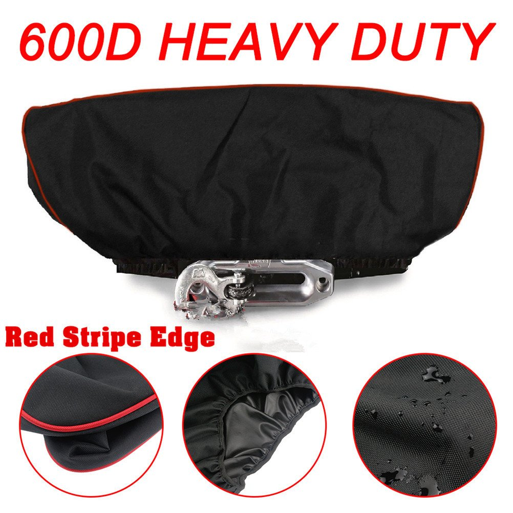 Red Stripe Edge Winch Cover,Waterproof Soft Winch Dust Cover Driver Recovery 8,500 to 17,500 Pound Capacity