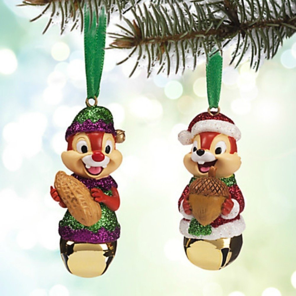 Disney Chip 'N Dale Bell Christmas Holiday Ornament Set