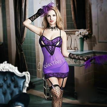 Amazon.com: Lencería para mujer sexy morado Lencería vestido ...